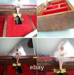 Vintage Swiss Reuge Style Dancing Ballerina Mirror Trinket Jewelry Musical Box
