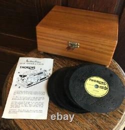 Vintage Thorens Automatic Disc Music Box AD30W Wood with 20 Discs Instructions