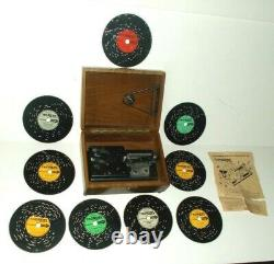 Vintage Thorens Wood Music Box with 9 Discs, Made in Switzerland