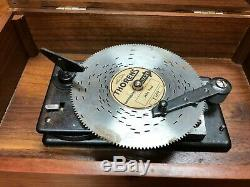 Vintage Unmarked Thorens Switzerland Solid All Wood Disc Player Music Box