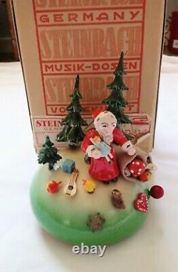 Vintage West German Steinbach Mechanical Wooden Music Box Plays Silent Night