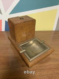 Vintage Wood Dancing Ballerina Cigarette Holder Music Box Ashtray Italy