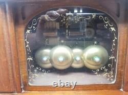 Vintage Wood Musical Jewelry Box withStriking Bells RARE Sankyo