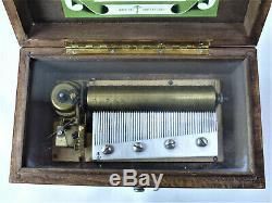 Vintage Working Thorens Inlaid Wood Music Box 4 Songs Made In Switzerland, 60s