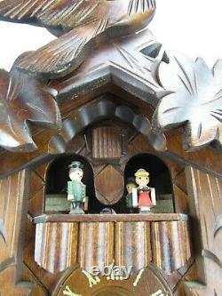 Vintage cuckoo clock REGULA weights GERMANY wood animated MUSIC BOX & DANCERS