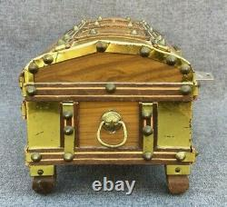 Vintage musical box trunk 1960-70's switzerland brass wood key birthday song
