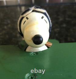 Vintage wood Peanuts Snoopy flying Bi-plane music box Sopwith Camel Schmid Bros