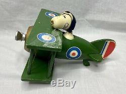 Vintage wood Peanuts Snoopy flying plane music box Schmid Sopwith Camel