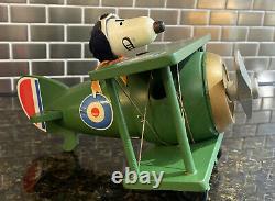 Vintage wood Peanuts Snoopy music box Schmid Bros Lot Set Bi-plane Sopwith Camel