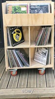 Vinyl record storage, 12 Inch Lp, Wood, storage Box, portable, storage Unit