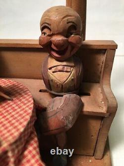 Vntg 1940s Rare Anri Hand Carved Wood Mechanical Automaton Music Box Bar Set