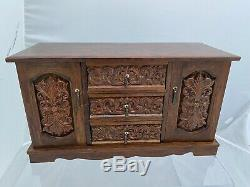 Vtg 60's Large Wood Carved Jewelry Box Musical by Royal Sealey Japan 15 long