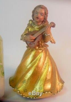 Vtg CARVED Gold WOOD ANGEL XMAS Music Box SILENT NIGHT Swiss Lute Mandolin