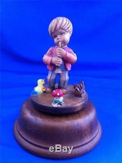 Vtg Goldscheider Italy Handcarved Wood Boy With Trumpet Music Box Figurine Anri