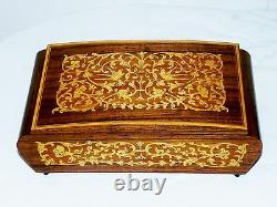 Vtg Swiss Italian Reuge Music Box Cigarette Case Holder Inlaid Wood Marquetry