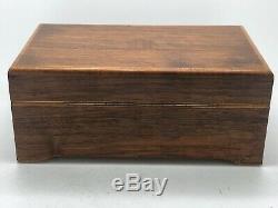 Vtg Thorens Inlaid Wood Music Box 4 Song Switzerland Faust Waltz Santa Lucia Wks