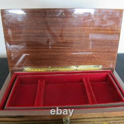 Wood Inlay Resin Coated Jewelry Music Box Lute and Flowers
