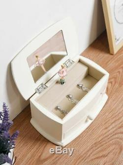 Wooden Jewelry Ballerina Music Box Girls Accessory Jewelries Storage With Mirror