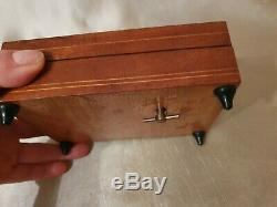 Wooden Tunbridge Ware Musical box small storage/Jewellery with Italian melody